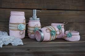 Weckglas Badezimmer Set Rosa Salbei Grün Shabby Chic Seife Etsy