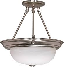 home fixtures nuvo lighting 60 202 3 lights 16 brushed nickel close to ceiling with alabaster glass transitional style fixture