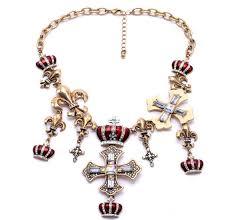 retro vintage gold cross gem red imperial crown statement bib necklace