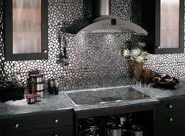 ... Vibrant metallic kitchen backsplash