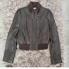 details about hinge brown leather jacket women s size medium