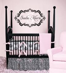 Baby Monogram Wall Decor Name And Initial Vinyl Wall Decal Shabby Chic Damask Border