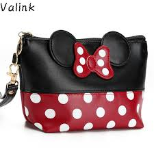 valink 2017 women pu leather erfly bow makeup bag wristlet cosmetics bags fashion small travel pouch