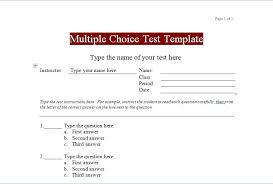 Multiple Choice Test Template For Microsoft Word Excel Tmp