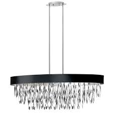 dainolite allegro polished chrome eight light oval chandelier with black shade
