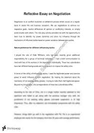 reflective essay on negotiation  gsb   personal development  reflective essay on negotiation