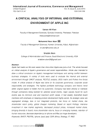 a critical analysis of internal and external environment of apple  a critical analysis of internal and external environment of apple inc pdf available