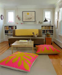 Low Seating Furniture Living Room White Fabric Low Base Floor Seating Couch With Colorful Cushions