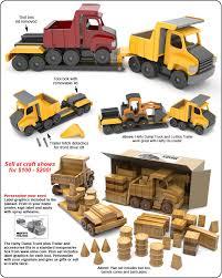 scroll saw magic hefty dump truck and lo boy trailer wood toy plan set
