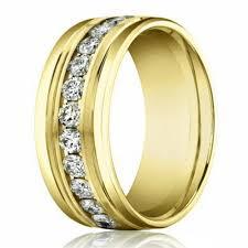 8mm 14k Yellow Gold Men S Diamond Eternity Wedding Band