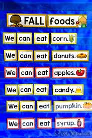 What Is Pocket Chart Fall Foods Pocket Chart Sentences Mrs Jones Creation Station