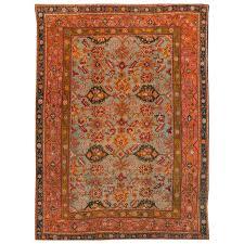 19th century orange blue turkish oushak rug for