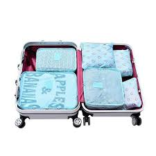 6Pcs <b>Travel</b> Set <b>Bags Packing Cube</b> Portable Clothing Underwear ...