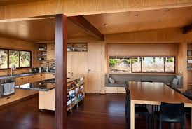 modern kitchen and dining room rustic farmhouse interior decor with parquet wall covering kitchen island with