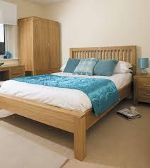 oak bedroom furniture decoration with beautiful blue color combination