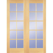 48 in x 80 in 10 lite clear wood pine prehung interior french door