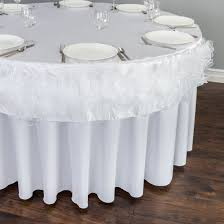 round ruffled organza table cover white