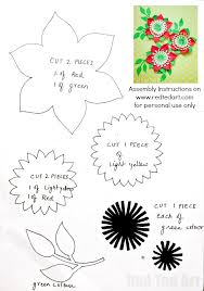 Paper Flower Printables Pretty Paper Flowers Diy Including Template Red Ted Arts Blog