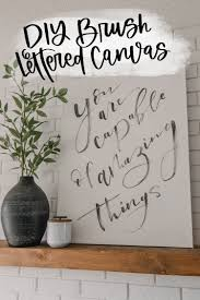 diy brush lettering on canvas with