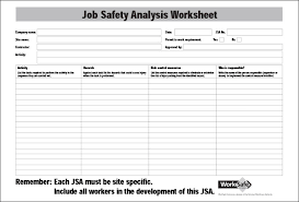 Job Hazard Analysis Worksheet Job Safety Analysis Form Rome Fontanacountryinn Com