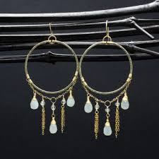 pale green jade large long gold dangle chandelier hoop earrings gold fill chandelier earrings