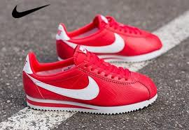 red nike cortez leather