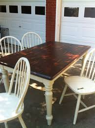 Refinish Kitchen Table Top Refinished Oak Table W Mahogany Stain Top And Cream Legs Now In