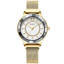Curren 9066 <b>Women</b> Stylish Simplicity Rhinestone Dial Watch ...