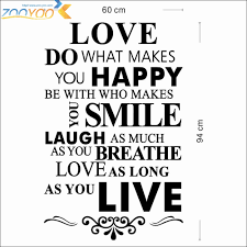Us 44 8 Offhappy Love Smile Live Life Inspirational Quotes Wall Stickers Living Room Bedroom Home Decorations Diy Pvc Mural Art Walls Decal In