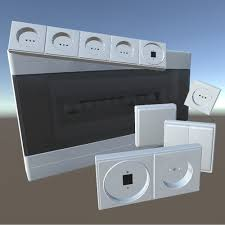 d model switches sockets and an electric fuse box vr ar low switches sockets and an electric fuse box vr ar low poly 3d model