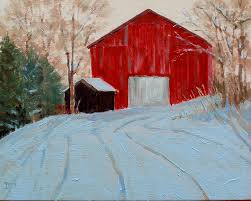the low winter morning sun was in almost the same direction relative to me as it was in spring so the barn is backlit in both paintings
