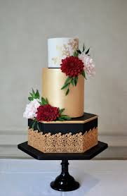 black and gold edible lace wedding cake