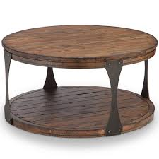 251 first river station industrial reclaimed wood round coffee table with casters in bourbon finish