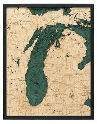 Lake St Catherine Depth Chart Lake Michigan Wood Carved Topographic Depth Chart Map