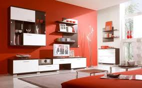 Modern Colors For Living Room Walls Nice Wall Mount Shelves And Modern Tv Stand Also Red Wall Painting