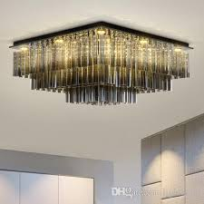 dimmable modern led rectangle crystal chandeliers high end clear k9 crystals surface mounted chandelier for living room bedroom hotel room