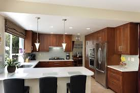 ... Galley U Shaped Kitchen With Peninsula Designs White Countertops And  Wooden Cabinetry Also Pendant ...
