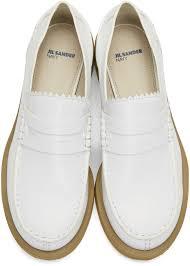 Jil Sander Navy White Leather Galaxy Loafers Women Jil