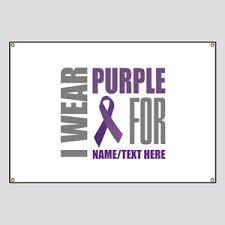Purple Ribbon Banner Pancreatic Cancer Purple Ribbon Banners Cafepress