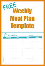 Weekly Meal Plan Sheet Free Weekly Meal Plan Template