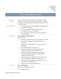 Sample Traders Resume Equity Trader Resume Template And Job Description Online