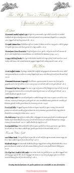 specials menu specials menu the hop vine