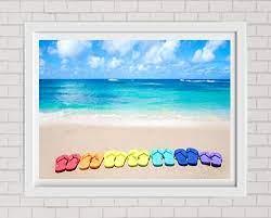 fine art print colorful flip flops on