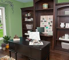 office wall color ideas. Office \u0026 Workspace : Inspiring Area With Green Colored Wall Paint Plus Shelves Unit Wooden Material And Floor Black Color Ideas H