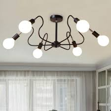 industrial wrought iron semi flush mount ceiling light with exposed edison bulb 6 lights in