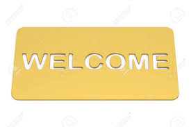 Welcome, Golden Doormat. 3D Rendering Stock Photo, Picture And ...