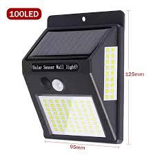Garden Lighting <b>100 LED Solar PIR</b> Motion Sensor Wall Light ...