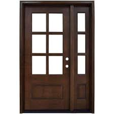 exterior doors with glass. Simple Glass Savannah 6 Lite Stained Mahogany Wood Prehung Front Door With Sidelite And Exterior Doors With Glass E