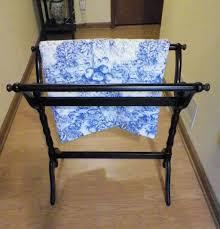 large espresso wooden quilt rack stand towel holder