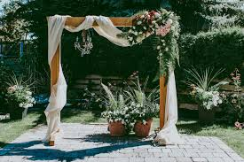 wooden with fabric and fls with fabric and flowers wedding arch diy
